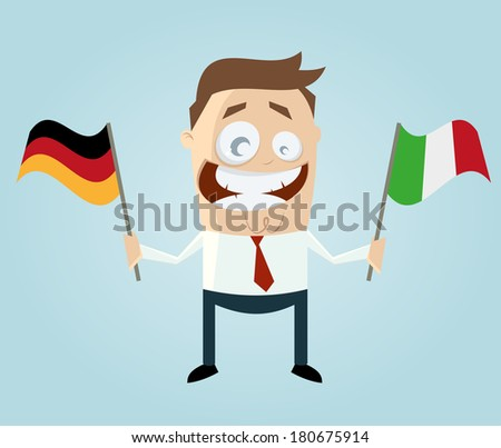 businessman with german and italian flag