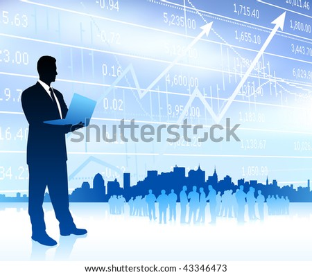 Businessman with graph and Skyline Original Vector Illustration - stock vector
