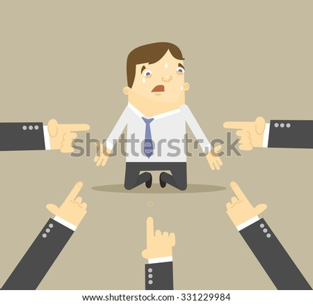 Businessman with hands pointing at him. Vector flat illustration - stock vector
