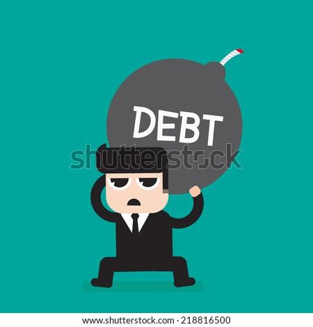 Businessman with heavy debt bomb - stock vector