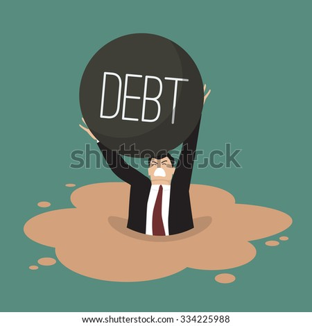 Businessman with heavy debt sinking in a quicksand. Business concept - stock vector