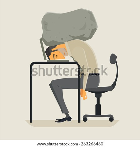 Businessman with his head squeezed between a laptop keyboard and a rock. Vector, Illustration. - stock vector