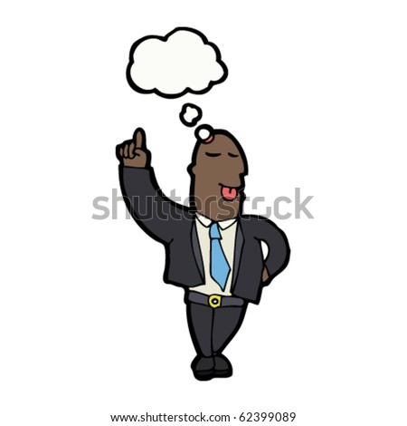 businessman with idea cartoon - stock vector