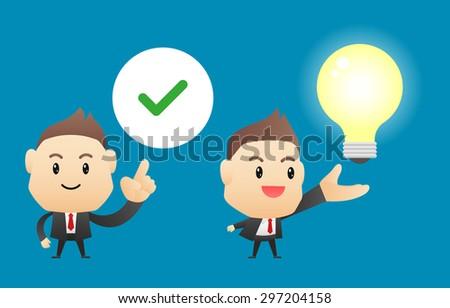 Businessman with ideas(light bulb) - vector illustration, EPS10 - stock vector