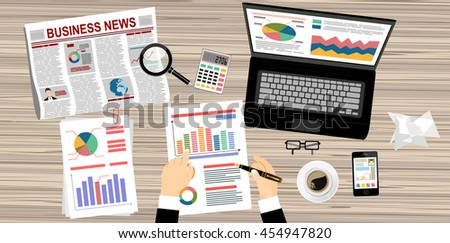 Businessman with laptop analyzes data. Analysis concept, flat design. Process research financial growth, statistics, data analysis, document, market, strategic, report. Development Planning. Vector - stock vector
