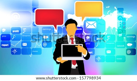 Businessman with laptop computer. Vector - stock vector