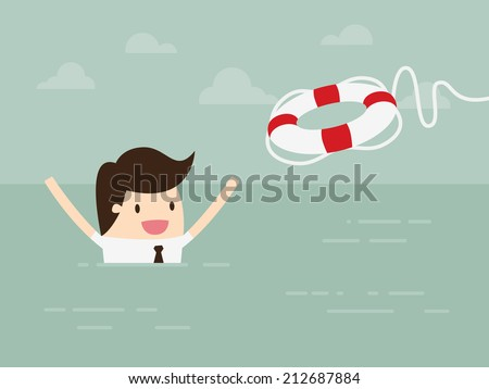 Businessman With Life Preserver - stock vector