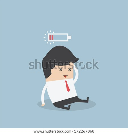 Businessman with low battery, VECTOR, EPS10 - stock vector