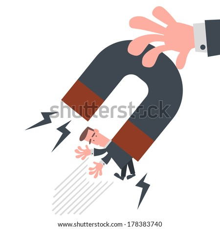 Businessman with Magnet - stock vector