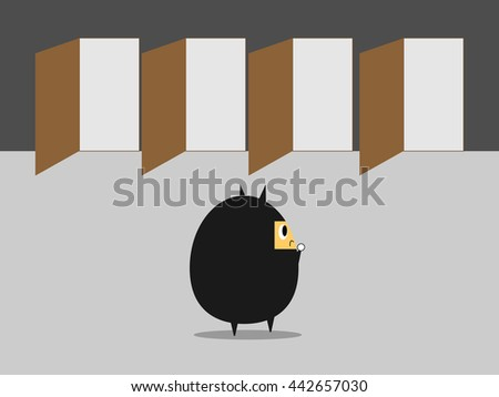 Businessman with many choice.. Business vector illustration cartoon character abstract concept. - stock vector
