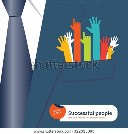 Businessman with many resources in his pocket.
