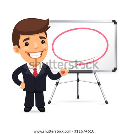 Businessman With Marker in Front of the Whiteboard. Isolated on white background. - stock vector