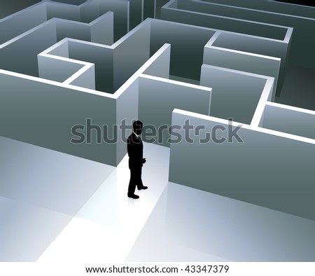 Businessman with Maze Original Vector Illustration Businessmen Concept