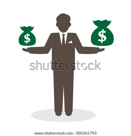 Businessman with money bag in hand.