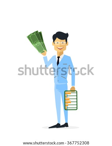 Businessman with money gold isolated illustration