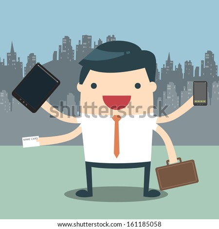 Businessman with multi tasking and multi skill. Businessman hard work on office. An illustration depicting work-related stress. A busy successful business man multitasking on office. - stock vector