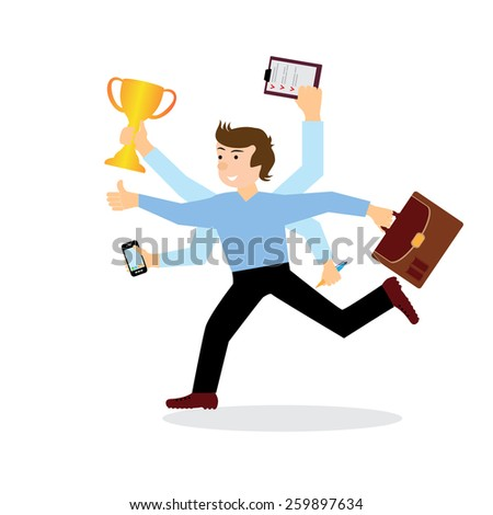 Businessman with multi tasking and multi skill. vector illustration - stock vector