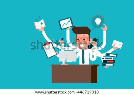 Businessman with multi tasking skills. - stock vector