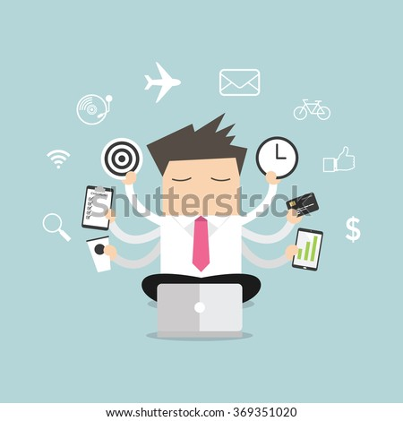 Businessman with multitasking and multi skill vector. - stock vector
