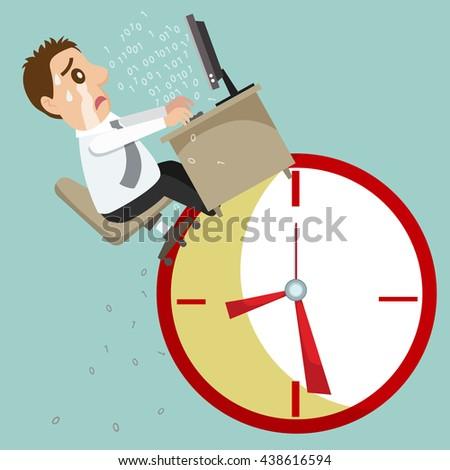 Businessman with office desk on the clock, vector illustration cartoon - stock vector