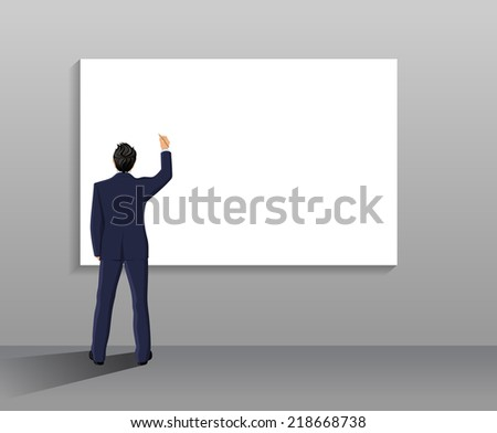 Businessman with pen in right hand full length back in front of white board vector illustration - stock vector