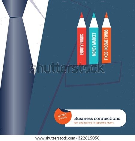 Businessman with pencils in his pocket corresponding to different funds. Vector illustration Eps10 file. Global colors. Text and Texture in separate layers. - stock vector