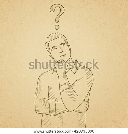 Businessman with question mark above his head. - stock vector