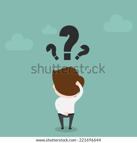 Businessman with question mark over his head,Vector EPS10. - stock vector