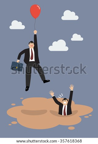 Businessman with red balloon get away from puddle of quicksand. Business concept - stock vector