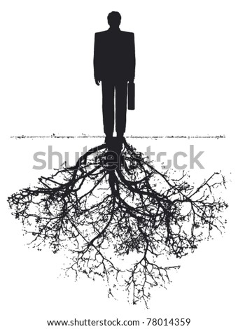 businessman with roots - stock vector