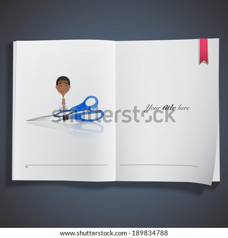 Businessman with scissors printed on book - stock vector