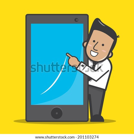 Businessman with smart phone - vector - stock vector