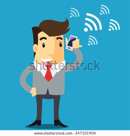 businessman with smartphone and wifi. - vector illustrator  - stock vector