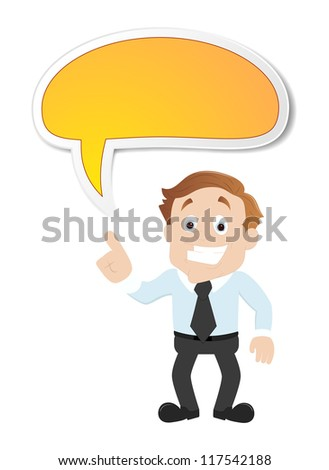 Businessman with Speech Bubble - stock vector
