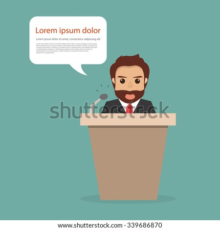 Businessman with speech bubble communicating. people character. - stock vector