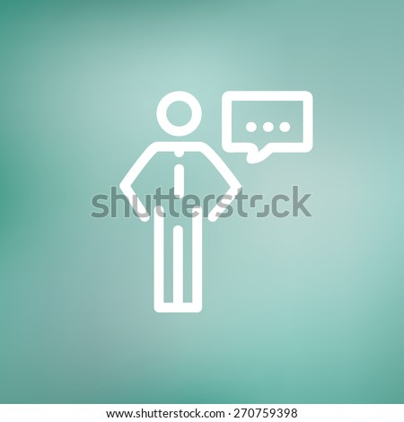 Businessman with speech bubble icon thin line for web and mobile, modern minimalistic flat design. Vector white icon on gradient mesh background. - stock vector