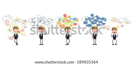 businessman with speech bubble over white background