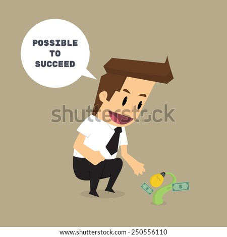 businessman with sprout business It is possible to succeed. future.vector - stock vector