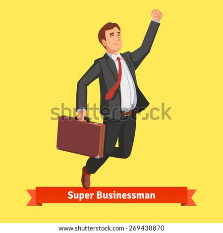 Businessman with suitcase celebrating his success jumping with his arm up. Flat style vector illustration. - stock vector