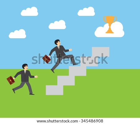 Businessman  with suitcase climbing the stairs of success. Flat style vector illustration. ladder of success