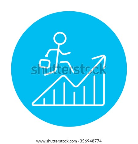 Businessman with suitcase running along the growing graph line icon for web, mobile and infographics. Vector white icon on the light blue circle isolated on white background. - stock vector