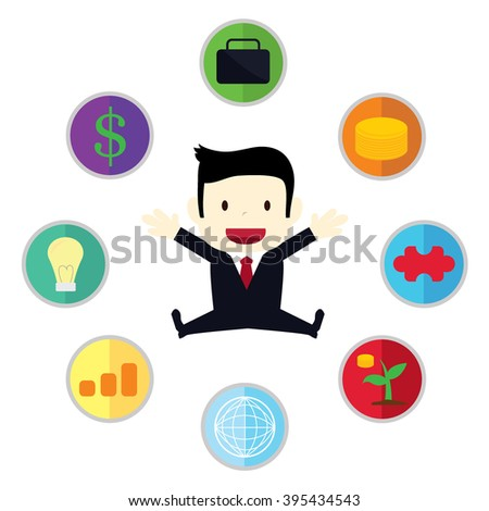 businessman with symbols of business around him