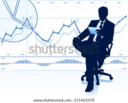 Businessman with tablet computer  - stock vector