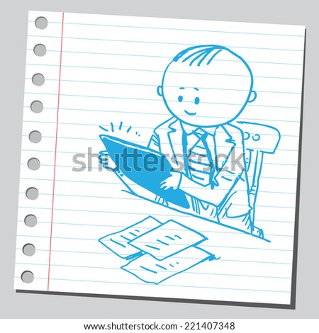 Businessman with tablet pc in office - stock vector