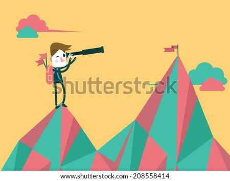 businessman with telescope finding next target. flat design. vector illustration - stock vector