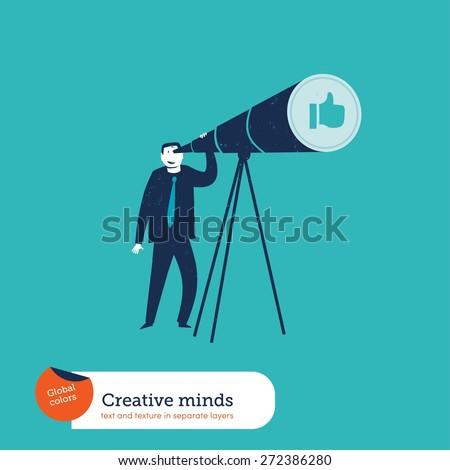 Businessman with telescope watching an I like hand. Vector illustration Eps10 file. Global colors. Text and Texture in separate layers. - stock vector