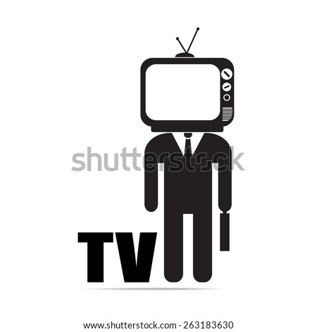 businessman  with TV head ,  vector EPS 10. - stock vector