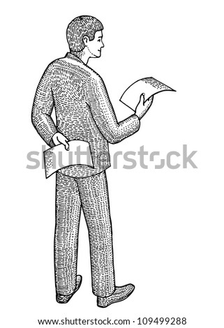 Businessman with two documents in hands - stock vector