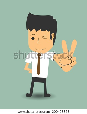 Businessman with two fingers up. - stock vector