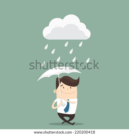 Businessman with umbrella in the rain - stock vector
